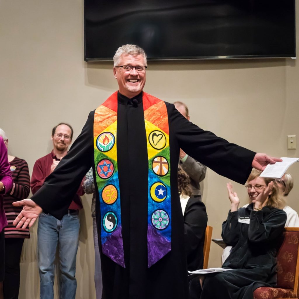 Receiving my stole at ordination – Fox Valley Unitarian Universalist Fellowship, Appleton, WI